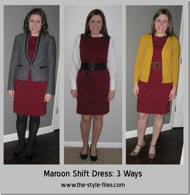 maroon dress 3 ways