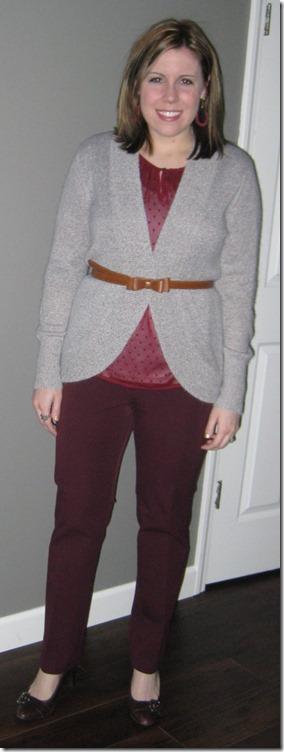 cocoon sweater, bow belt, maroon pants