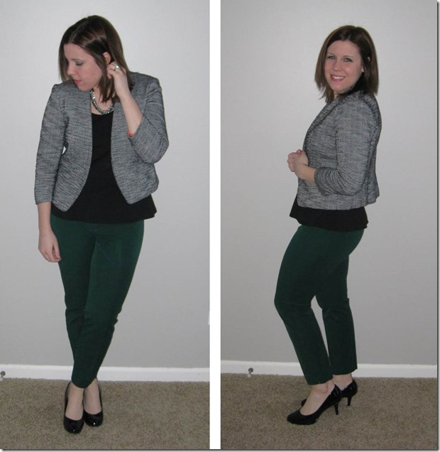 emerald pants, tweed blazer, black shell