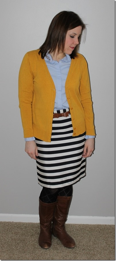 mustard cardigan, jeweled oxford button up, black white striped skirt, cognac belt and boots, texctured tights