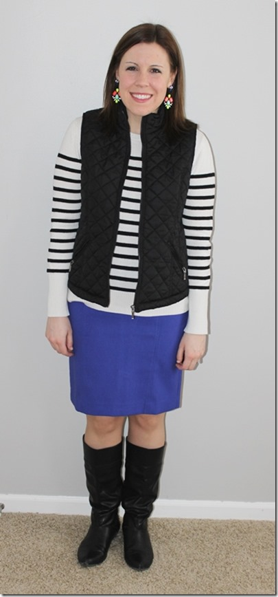 majestical statement earrings, black vest, striped sweater, periwinkle skirt, black boots