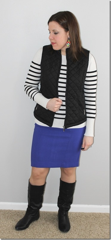 statement earrings, black vest, striped sweater, periwinkle skirt, black boots