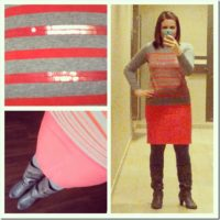 coral and gray outfit