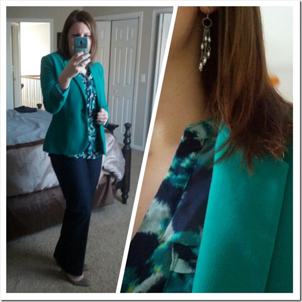 Teal blazer, navy print blouse, dark trouser jeans