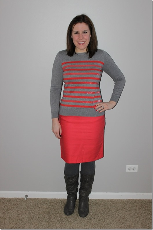 coral and gray outfit, pencil skirt, sweater, boots