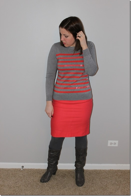 coral striped sweater, coral pencil skirt, gray boots, gray tights