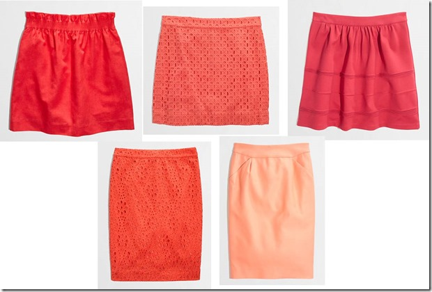coral, red, peach, pink skirts from j crew factory