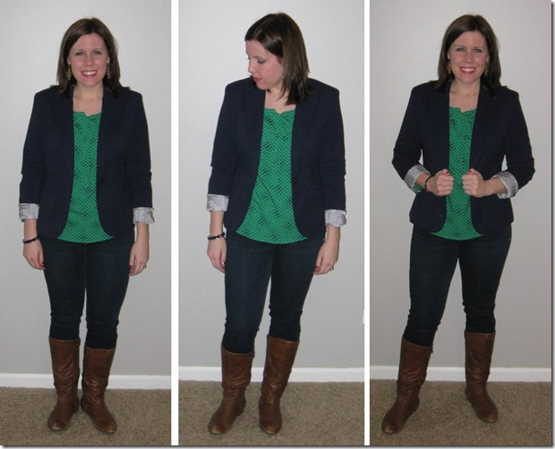 navy blazer, green blouse, jeans, boots, gold earrings