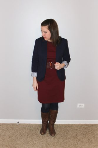 navy blazer, maroon shift dress, cognac belt and boots