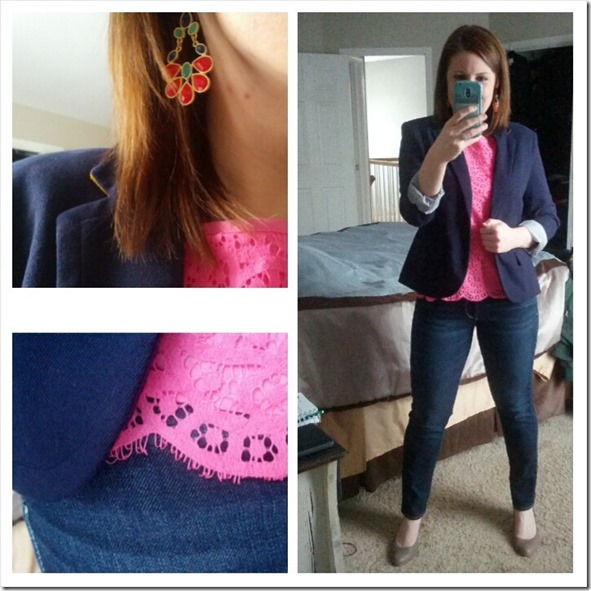 navy blazer, pink lace top, jeans