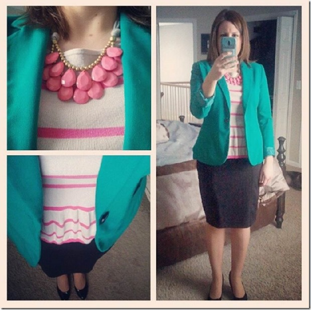 pink striped peplum, teal blazer, black pencil skirt