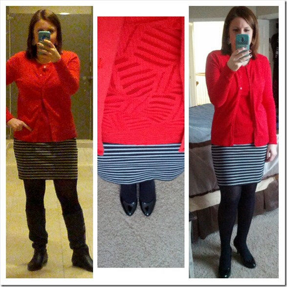 red cardi, red shell, striped skirt, black tights and boots