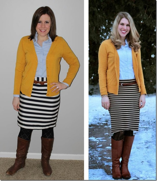 remix- mustard cardi, jeweled oxford, black white striped skirt, cognac belt and boots, textured tights