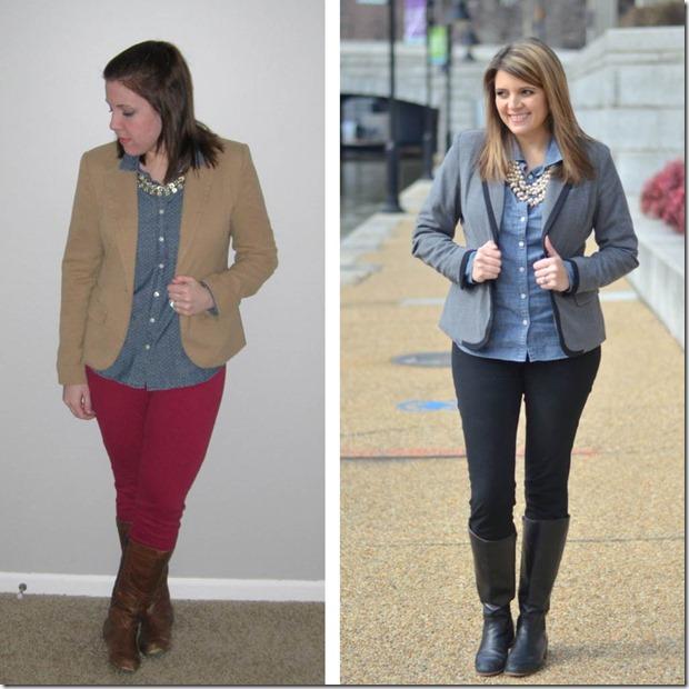 style swap- chambray, blazer, boots