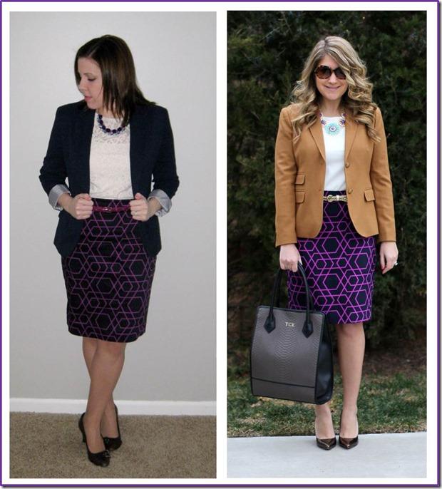 style swap- geometric print skirt, blazer