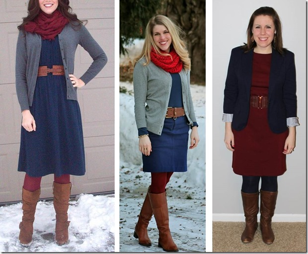 style swap- navy maroon combo with cognac accessories
