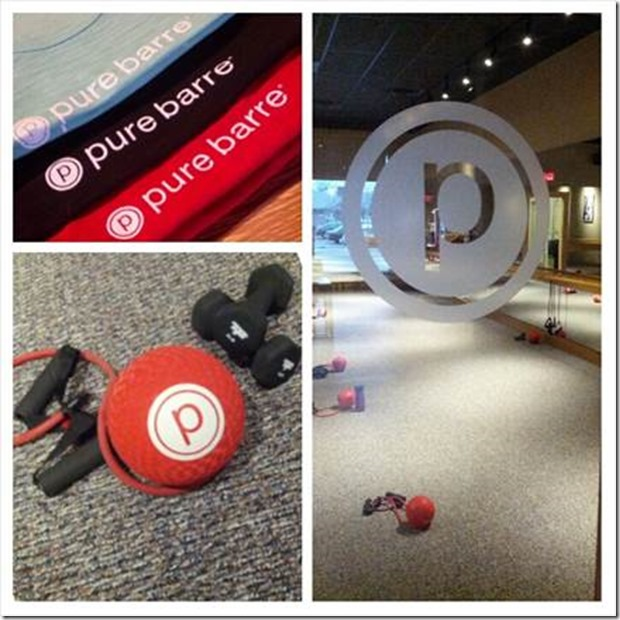 Pure Barre studio, shirts, equipment