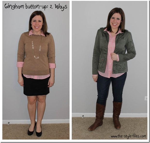 gingham button up 2 ways
