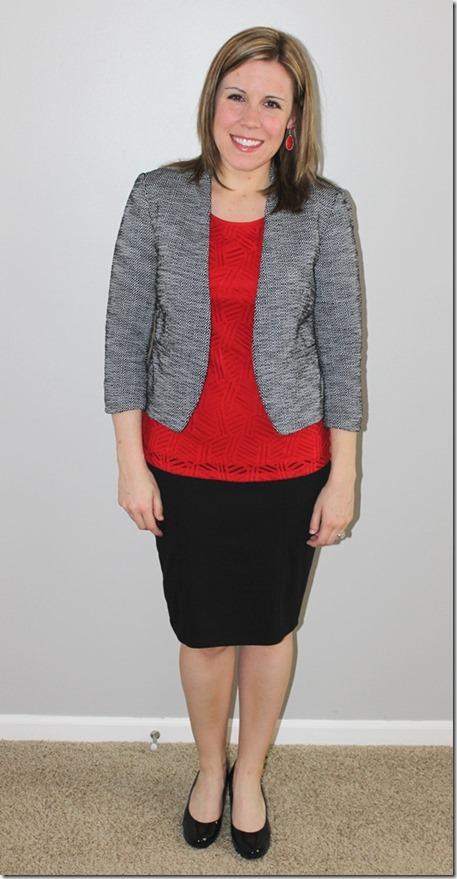 ootd2: tweed blazer, red tank, black pencil skirt