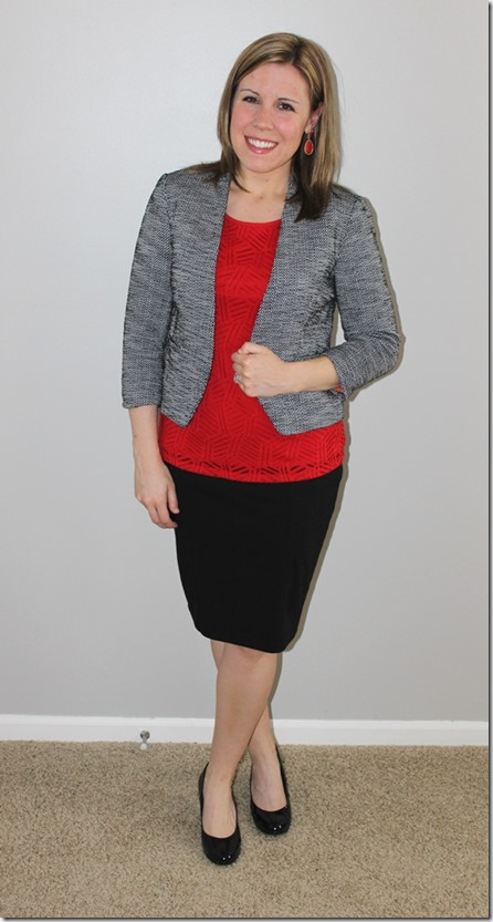 tweed blazer red tank black pencil skirt the style files. Black Bedroom Furniture Sets. Home Design Ideas