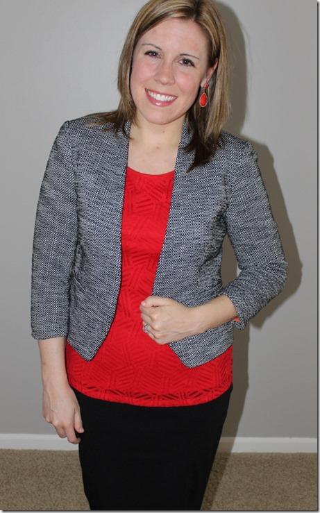 ootd3: tweed blazer, red tank, black pencil skirt