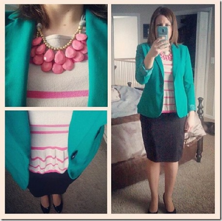 pink striped peplum, teal blazer, black pencil skirt