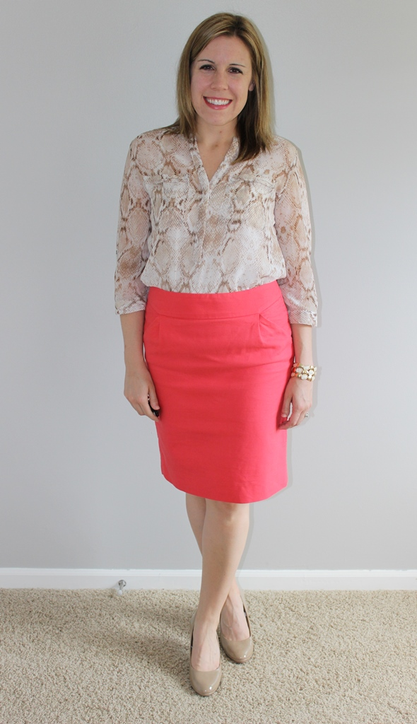 Coral pencil skirt, snakeskin print top, nude heels