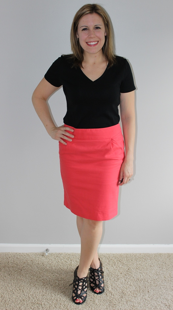 Coral pencil skirt, black v-neck tee, peep toe gladiator wedges