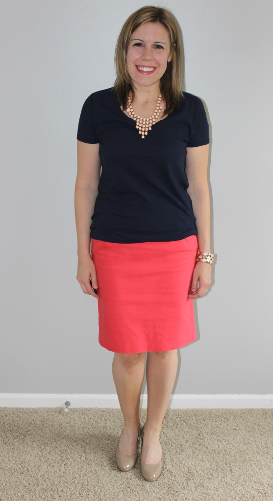 Coral pencil skirt, navy v-neck tee, nude heels, ivory statement necklace