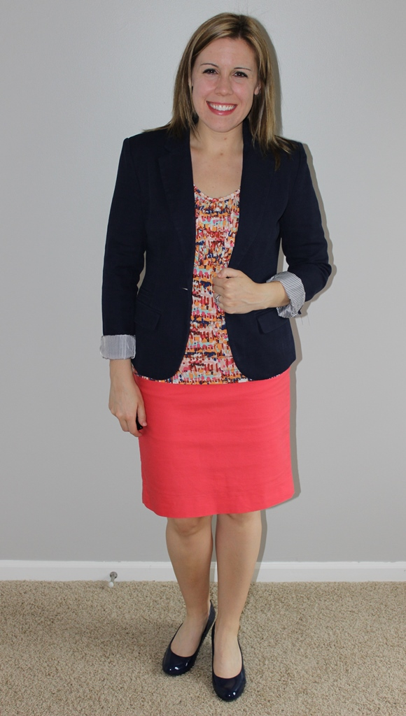 Coral pencil skirt, multicolored tank, navy blazer, navy heels