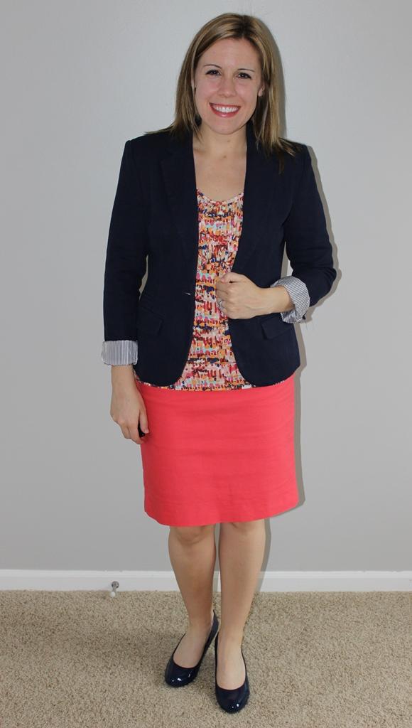 Coral pencil skirt, multicolored tank, navy blazer, navy heels