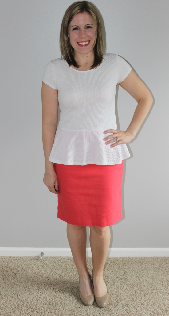 Coral pencil skirt, white peplum top, nude heels