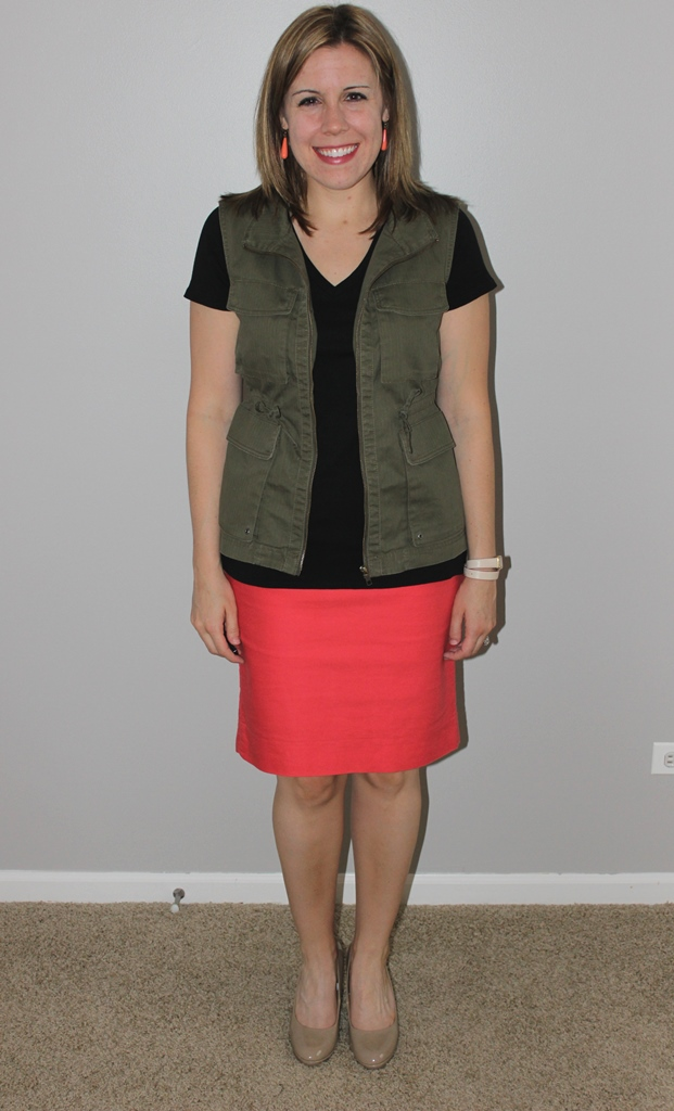 Coral pencil skirt, black v-neck tee, cargo vest, nude heels