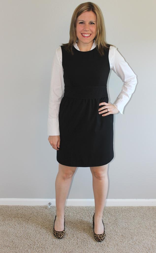 Black dress, white button up, leopard heels