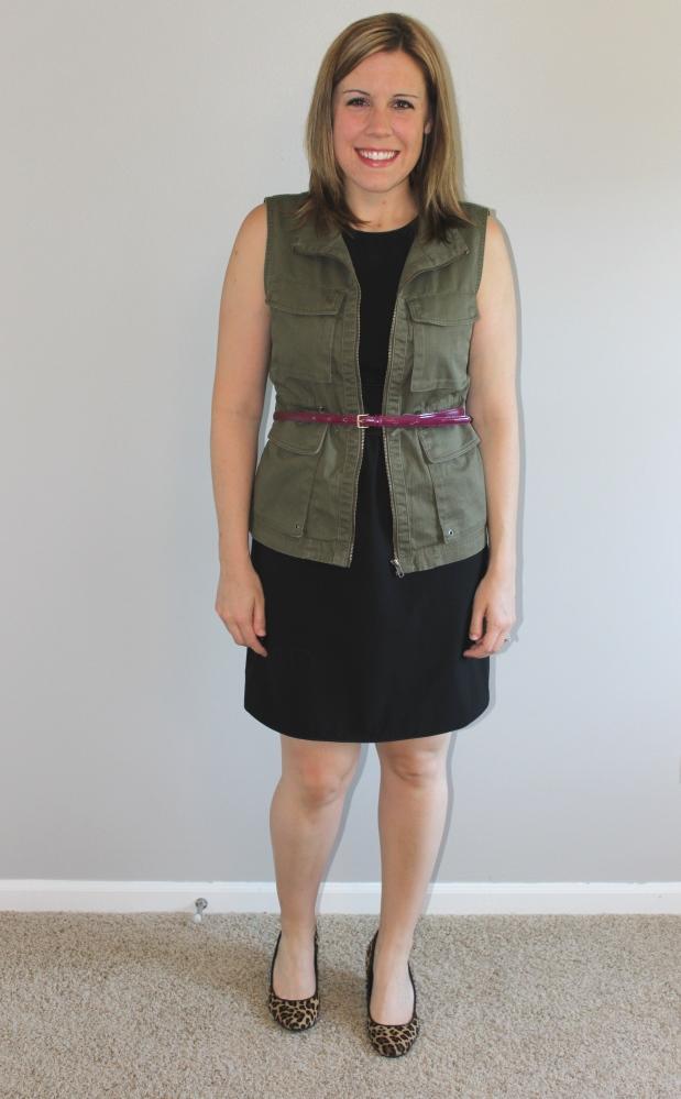 Black dress, belted cargo vest, leopard heels