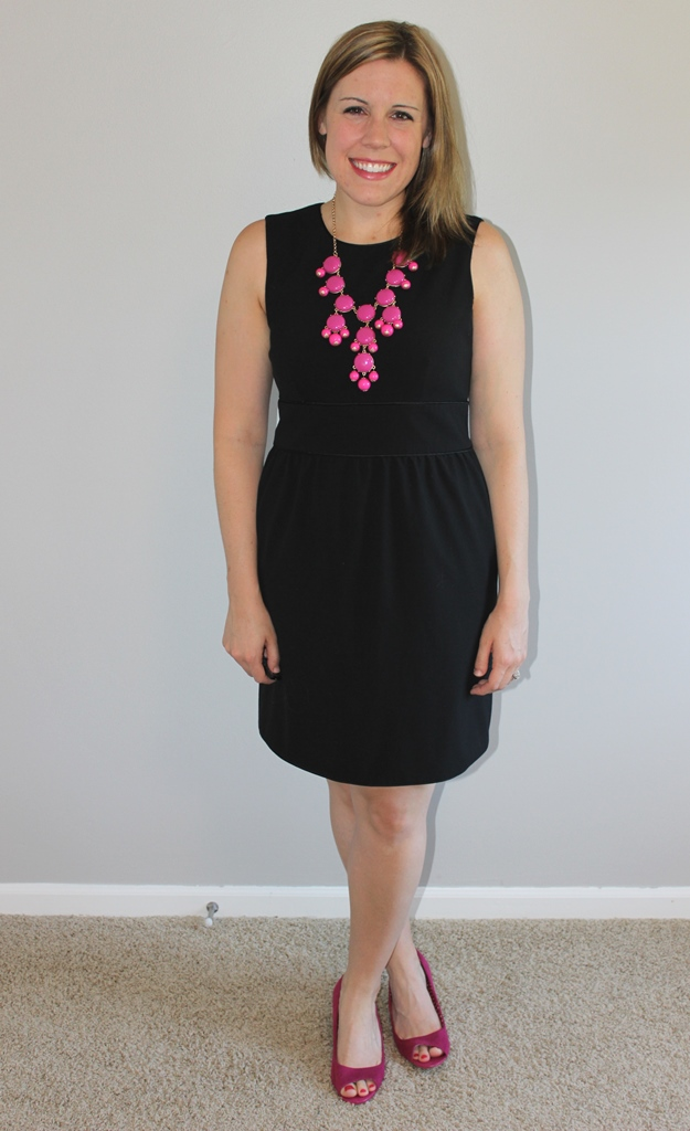 Black dress, pink statement necklace, pink peep toe wedges