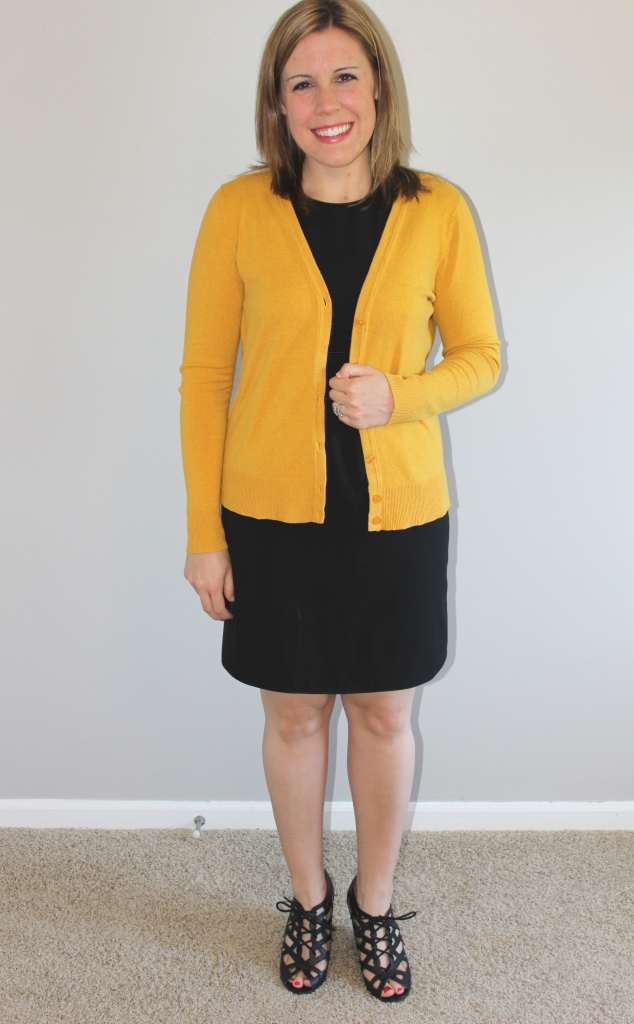Black dress, mustard cardigan, peep toe gladiator wedges