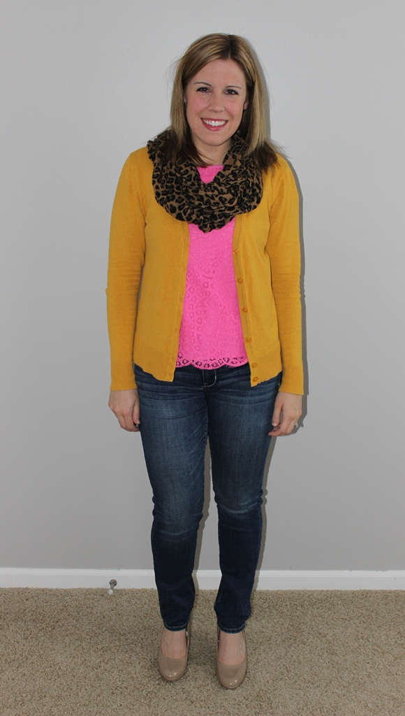 mustard cardigan, pink lace top, leopard scarf, jeans, nude heels