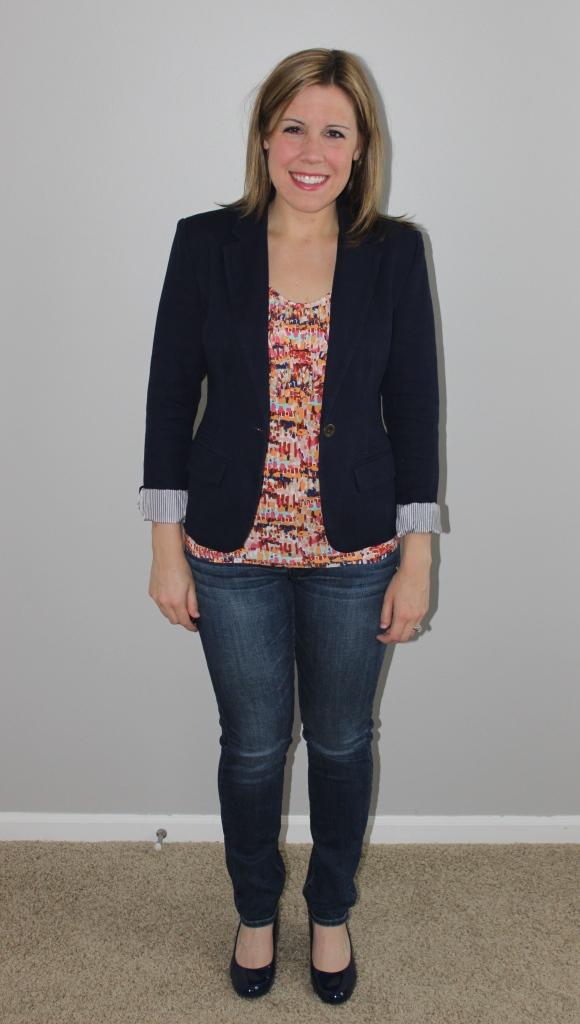 navy blazer, multicolor tank, jeans, navy heels