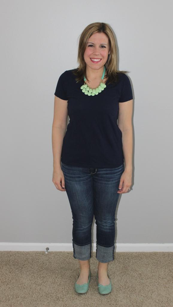 navy tee, mint flats, mint statement necklace, jeans