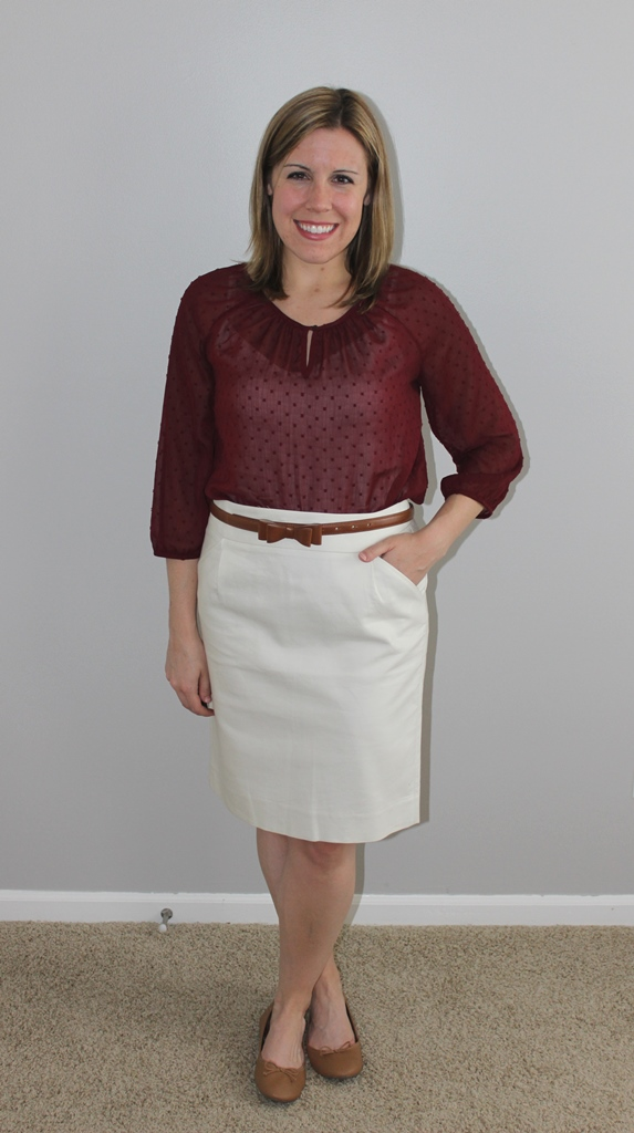cream pencil skirt, maroon sheer top, cognac belt and flats