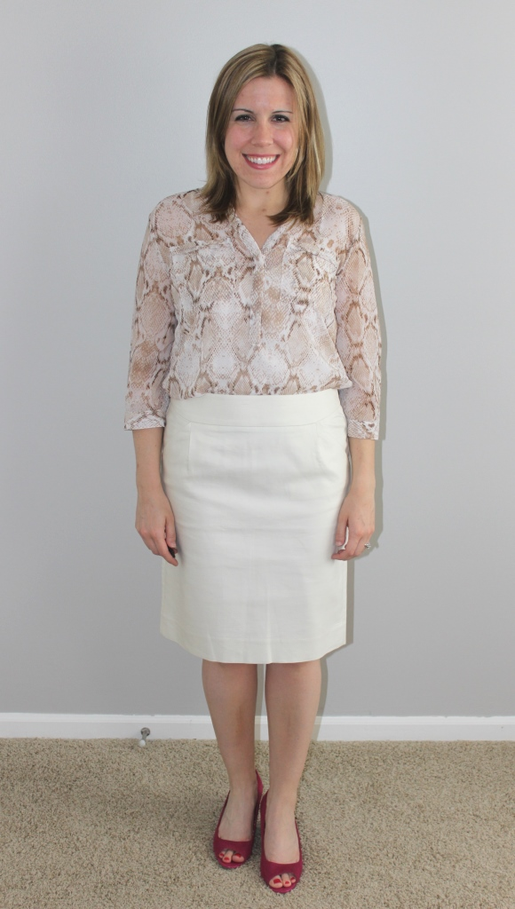 cream pencil skirt, snakeskin print top, pink wedges