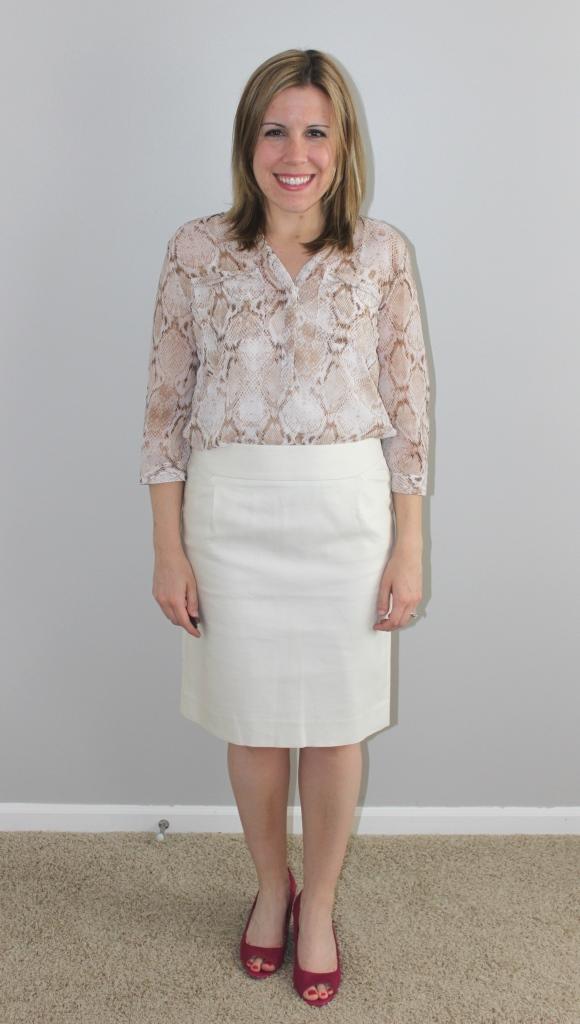 cream pencil skirt, snakeskin print top, pink wedges