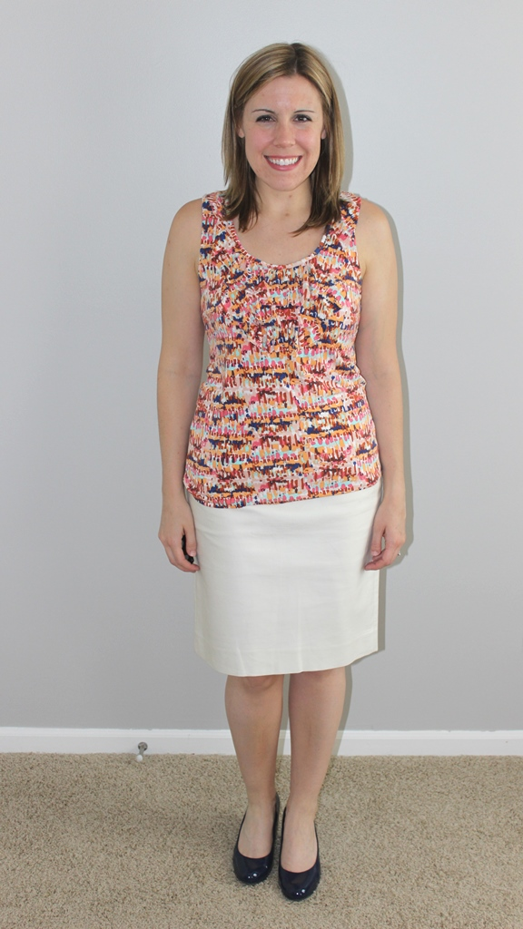 cream pencil skirt, multicolor tank