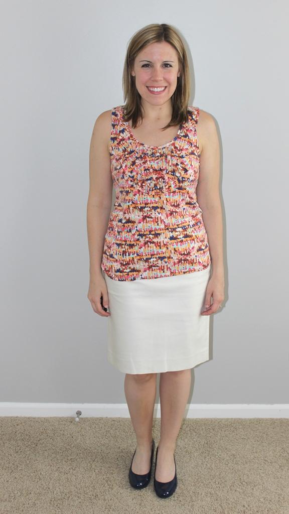 cream pencil skirt, multicolor tank