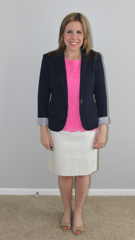 cream pencil skirt, navy blazer, pink lace top