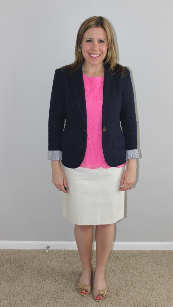 cream pencil skirt, navy blazer, pink lace top