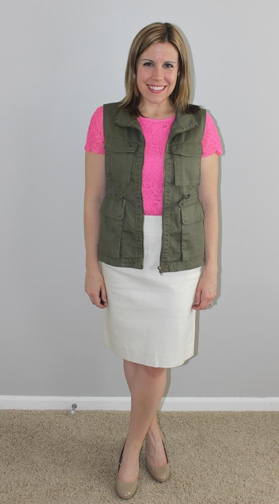 cream pencil skirt, cargo vest, pink lace top