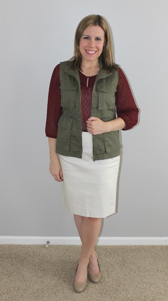 cream pencil skirt, maroon sheer blouse, cargo vest