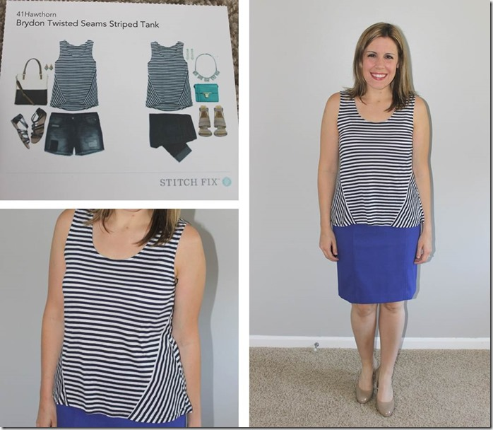 Stitch Fix- Brydon Twisted Seams Striped Tank